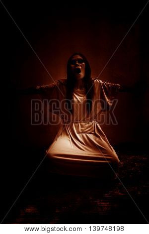 Ghost women screaming in the dark,Scary background for book cover
