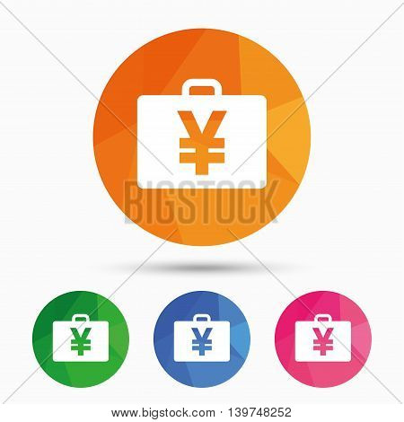 Case with Yen JPY sign icon. Briefcase button. Triangular low poly button with flat icon. Vector