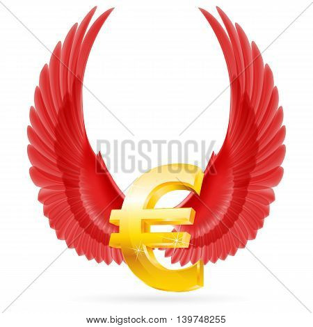 Golden euro symbol with red raised up wings