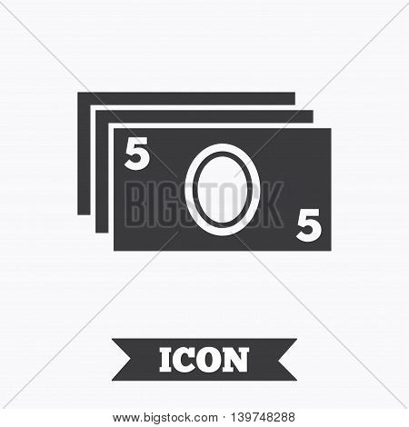 Cash sign icon. Paper money symbol. For cash machines or ATM. Graphic design element. Flat atm symbol on white background. Vector