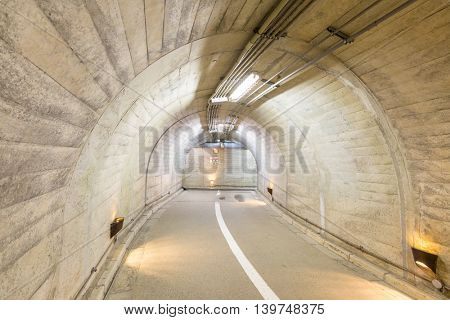 Interior of an urban walkway tunnel  road