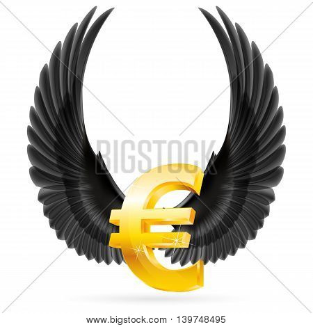 Golden euro symbol with black raised up wings