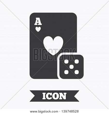 Casino sign icon. Playing card with dice symbol. Graphic design element. Flat casino symbol on white background. Vector