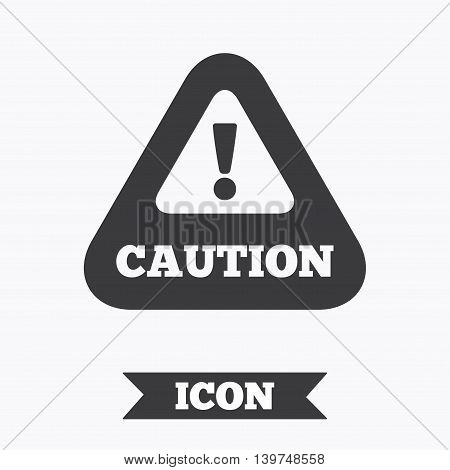 Attention caution sign icon. Exclamation mark. Hazard warning symbol. Graphic design element. Flat caution symbol on white background. Vector