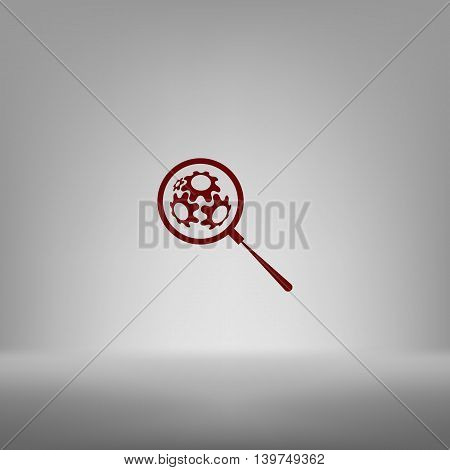 Flat Paper Cut Style Icon Of Magnifier