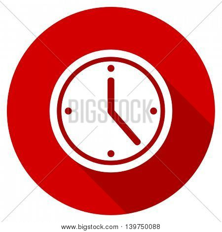 time red vector icon, circle flat design internet button, web and mobile app illustration