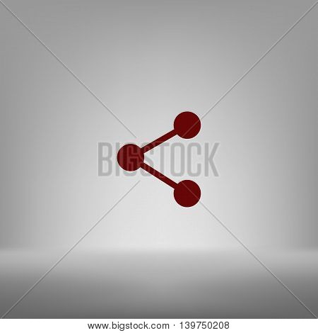 Flat Paper Cut Style Icon Of Share