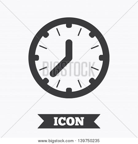Clock time sign icon. Mechanical watch symbol. Graphic design element. Flat clock symbol on white background. Vector