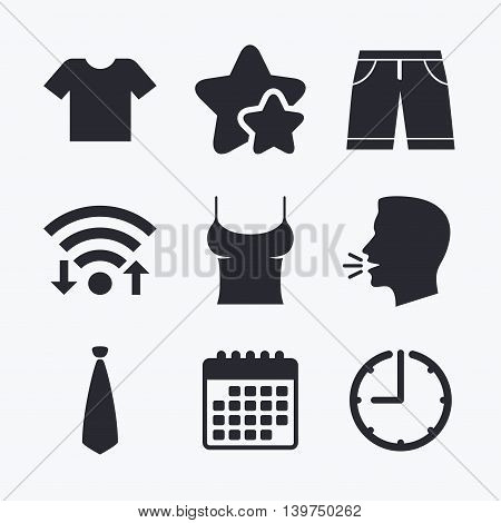 Clothes icons. T-shirt and bermuda shorts signs. Business tie symbol. Wifi internet, favorite stars, calendar and clock. Talking head. Vector