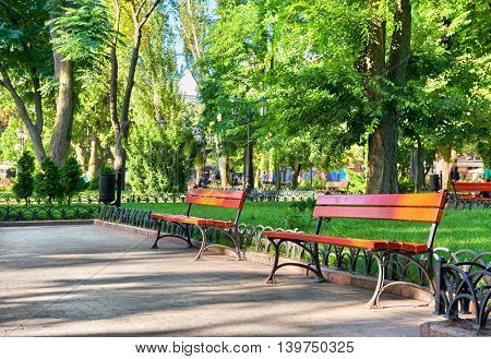 green city park, summer season, bright sunlight and shadows, beautiful landscape, home and people on street