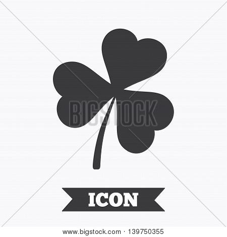 Clover with three leaves sign icon. Trifoliate clover. Saint Patrick trefoil symbol. Graphic design element. Flat clover symbol on white background. Vector