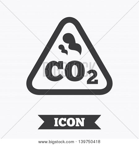 CO2 carbon dioxide formula sign icon. Chemistry symbol. Graphic design element. Flat carbon symbol on white background. Vector