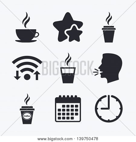 Coffee cup icon. Hot drinks glasses symbols. Take away or take-out tea beverage signs. Wifi internet, favorite stars, calendar and clock. Talking head. Vector