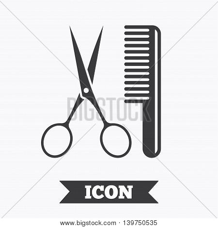 Comb hair with scissors sign icon. Barber symbol. Graphic design element. Flat hairdresser symbol on white background. Vector