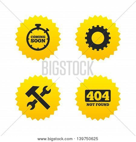 Coming soon icon. Repair service tool and gear symbols. Hammer with wrench signs. 404 Not found. Yellow stars labels with flat icons. Vector