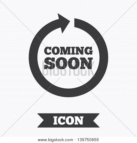 Coming soon sign icon. Promotion announcement symbol. Graphic design element. Flat coming soon symbol on white background. Vector