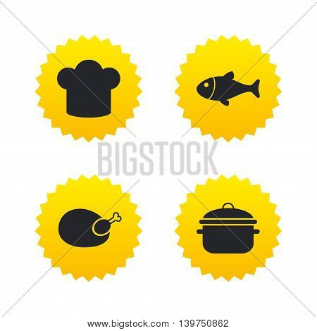 Chief hat and cooking pan icons. Fish and chicken signs. Boil or stew food symbol. Yellow stars labels with flat icons. Vector