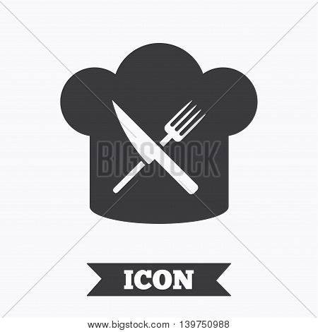 Chef hat sign icon. Cooking symbol. Cooks hat with fork and knife. Graphic design element. Flat restaurant symbol on white background. Vector