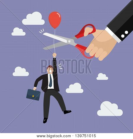 Big hand cutting rival balloon string with scissors. Business concept