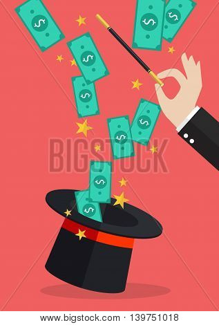 Business hand with money flying out of the magic hat. Business concept