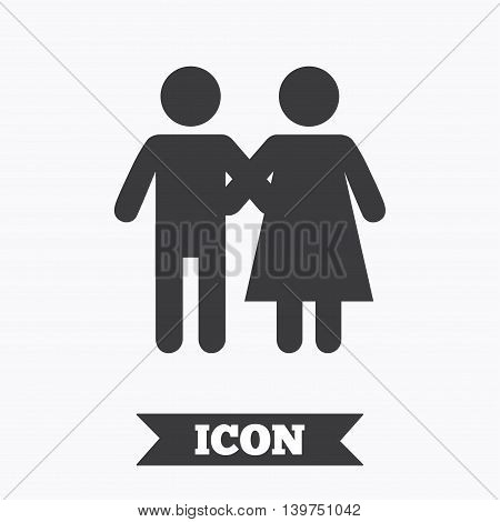 Couple icon. Young family symbol. Family insurance. Graphic design element. Flat couple symbol on white background. Vector
