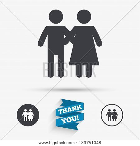 Couple icon. Young family symbol. Family insurance. Flat icons. Buttons with icons. Thank you ribbon. Vector