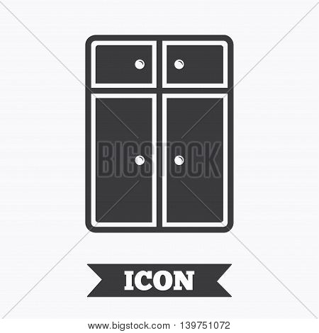 Cupboard sign icon. Modern furniture symbol. Graphic design element. Flat cupboard symbol on white background. Vector