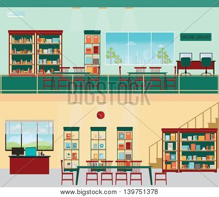 Empty Reading Seat In Library or Bookstore with bookshelvesLibrary interior flat design illustration vector