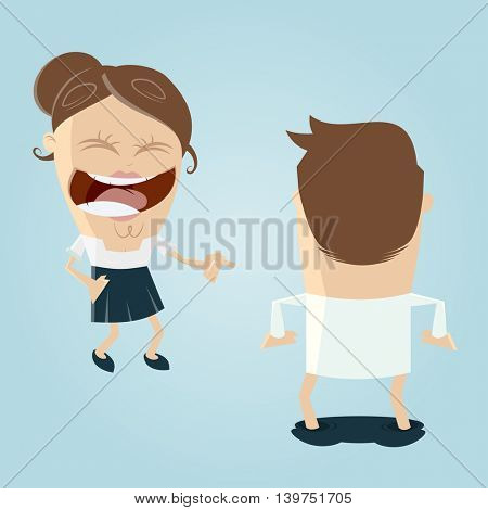 woman laughing at man with dropped pants