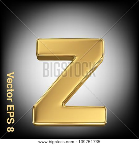 Vector letter z from gold solid alphabet. Eps 8 using mesh.