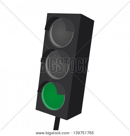 isolated traffic light with green light on