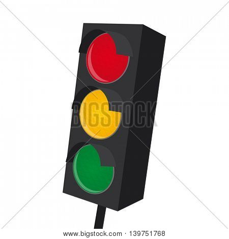 isolated traffic light with all lights on