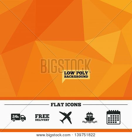 Triangular low poly orange background. Cargo truck and shipping icons. Shipping and free delivery signs. Transport symbols. 24h service. Calendar flat icon. Vector