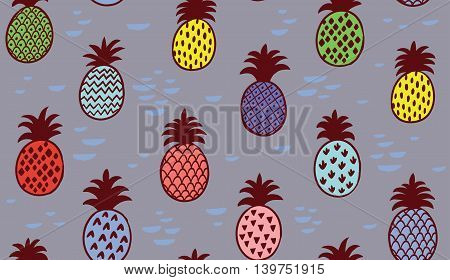 Seamless creative summer pineapple fruit illustration background pattern in vector