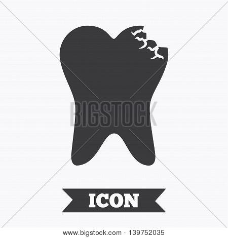 Broken tooth icon. Dental care sign symbol. Graphic design element. Flat dental symbol on white background. Vector