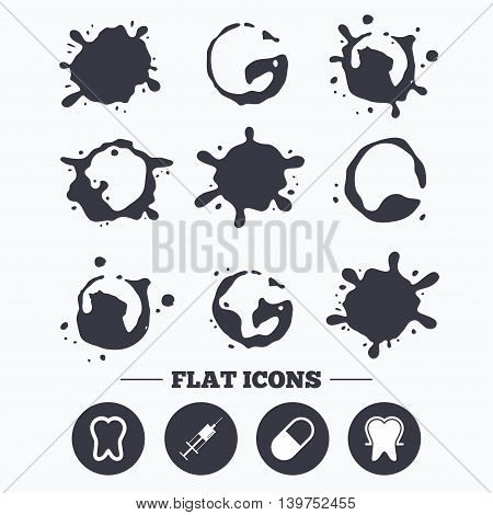 Paint, coffee or milk splash blots. Tooth enamel protection icons. Medical syringe and pill signs. Medicine injection symbol. Smudges splashes drops. Vector