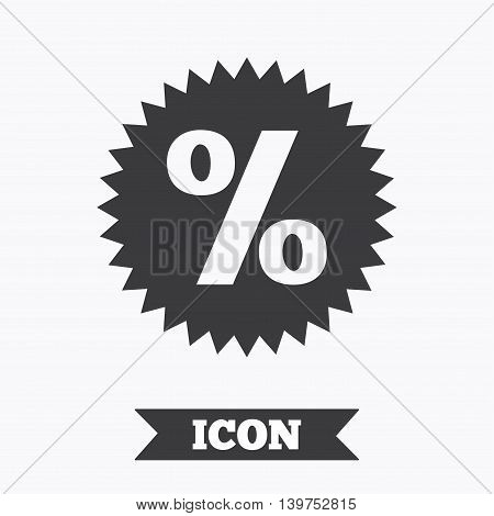 Discount percent sign icon. Star symbol. Graphic design element. Flat sale symbol on white background. Vector
