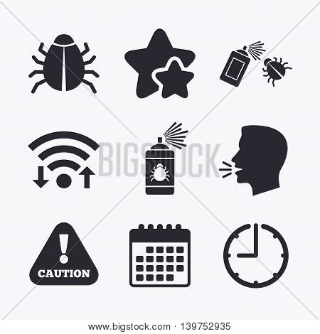 Bug disinfection icons. Caution attention symbol. Insect fumigation spray sign. Wifi internet, favorite stars, calendar and clock. Talking head. Vector