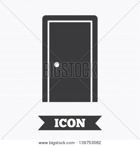 Door sign icon. Enter or exit symbol. Internal door. Graphic design element. Flat door symbol on white background. Vector
