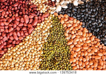 Group of beans is a healthy food