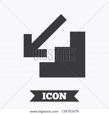 Downstairs icon. Down arrow sign. Graphic design element. Flat downstairs symbol on white background. Vector