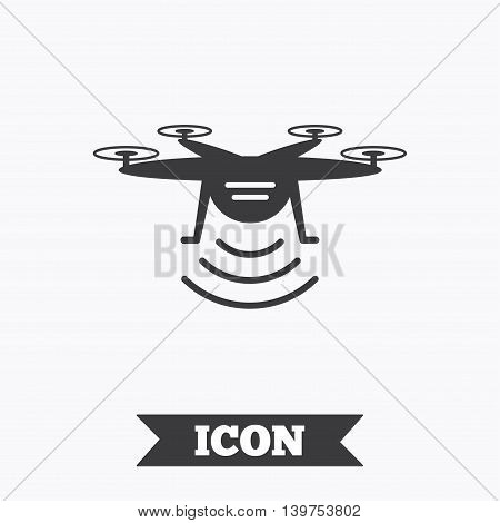 Drone icon. Quadrocopter with remote control symbol. Graphic design element. Flat drone symbol on white background. Vector