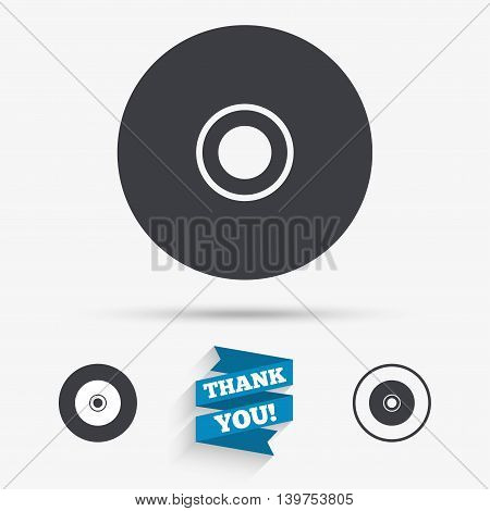 CD or DVD sign icon. Compact disc symbol. Flat icons. Buttons with icons. Thank you ribbon. Vector