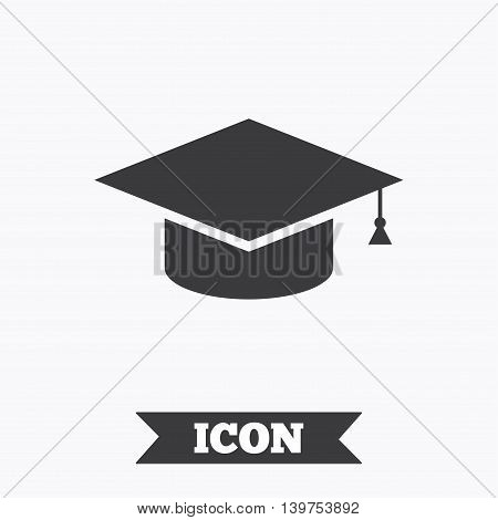 Graduation cap sign icon. Higher education symbol. Graphic design element. Flat education symbol on white background. Vector
