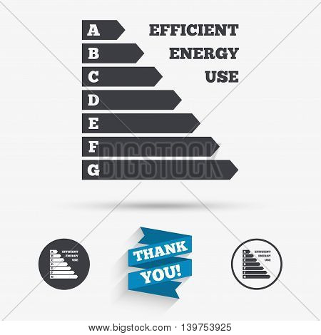 Energy efficiency sign icon. Electricity consumption symbol. Flat icons. Buttons with icons. Thank you ribbon. Vector