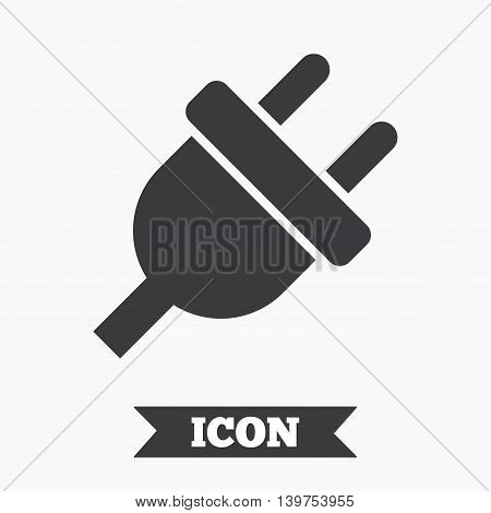 Electric plug sign icon. Power energy symbol. Graphic design element. Flat electricity symbol on white background. Vector
