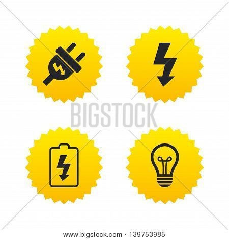 Electric plug icon. Lamp bulb and battery symbols. Low electricity and idea signs. Yellow stars labels with flat icons. Vector