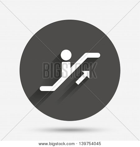Escalator staircase icon. Elevator moving stairs up symbol. Circle flat button with shadow. Vector