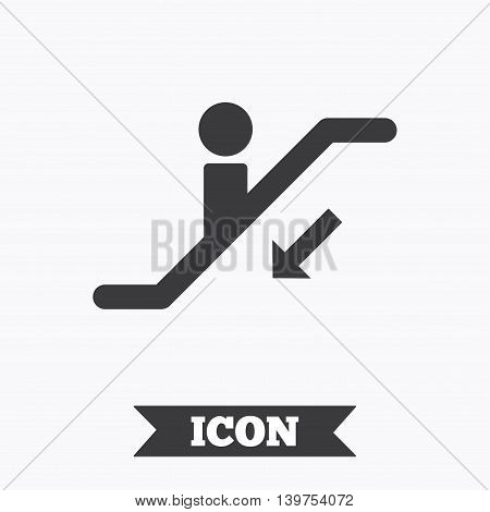 Escalator staircase icon. Elevator moving stairs down symbol. Graphic design element. Flat escalator symbol on white background. Vector