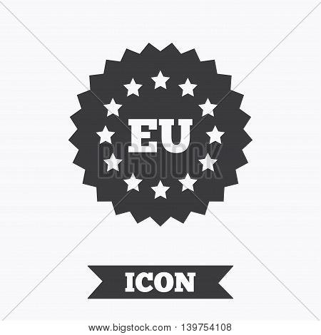 European union icon. EU stars symbol. Graphic design element. Flat eu symbol on white background. Vector